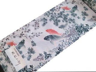 正絹長襦袢地 「祇園小町」四季の鯉 墨赤