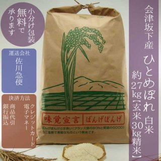 令和元年産 会津坂下産ひとめぼれ 精米30kg(白米約27kg)【小分け包装可】