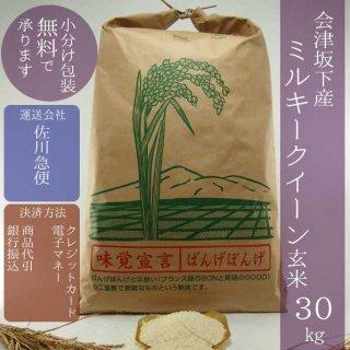 令和元年産 会津坂下産ミルキークイーン 玄米30kg【小分け包装可】
