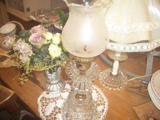 アンティークテーブルガラスランプ