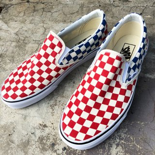 [VANS]Classic Slip-on (Checkerboard)Red/ Blue