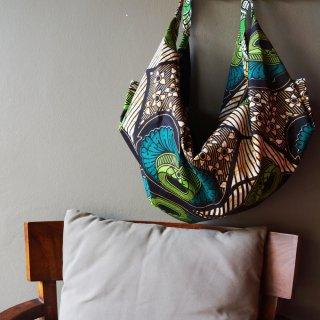 大ぶりなダイナミック柄 アフリカンバティックBAG/1点もの/レッスンバック/スポーツバッグ