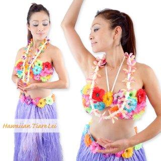 ハワイアン ティアレ レイ トロピカル カラフル レインボー パステル フラワー 花飾り フラ ダンス 衣装