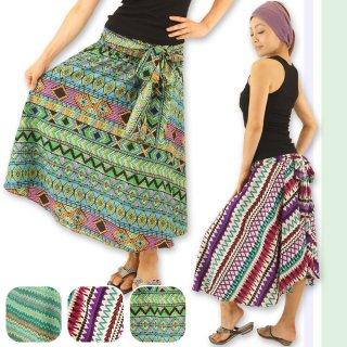 カラフルエスニックデザイン総柄ロングスカート☆2Way♪アシメントリー☆おしゃれさんにぴったり♪フレアーロングスカート