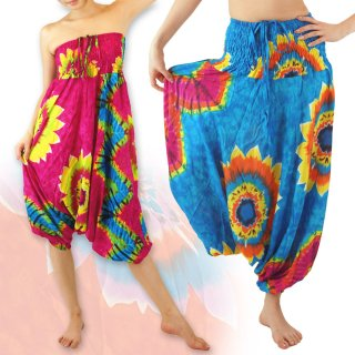 ビッグフラワー タイダイ サルエルパンツ 3way ひまわり カラフル 花柄 エスニック アジアン タイパンツ