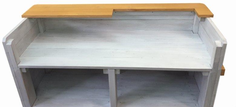 木製レジカウンター・受付カウンター_上部天板付き_幅124cm×奥行48cm×高さ99cm_アンティークホワイト_C005AWH