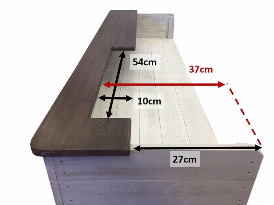 ハンドメイドレジカウンター・受付カウンター_上部天板付き_幅154cm×奥行60cm×高さ110cm_アンティークホワイト_C010AWH