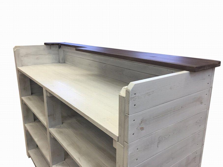 木製レジ台・カウンター_上部天板付き_幅154cm×奥行60cm×高さ110cm_アンティークホワイト_C010AWH