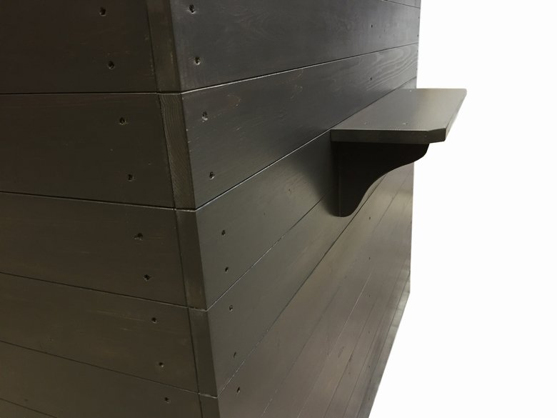 木製レジカウンター・受付カウンター_幅120cm×奥行80cm×高さ108cm_ブラックブラウン+ニス_C015BB