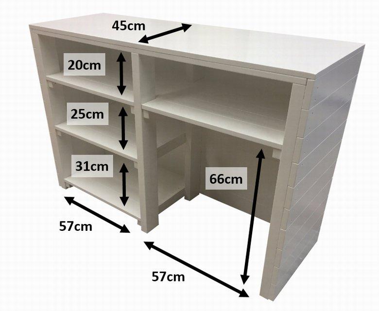 木製レジカウンター・受付カウンター_幅130cm×奥行45cm×高さ92cm_ホワイト+ニス_C016WH