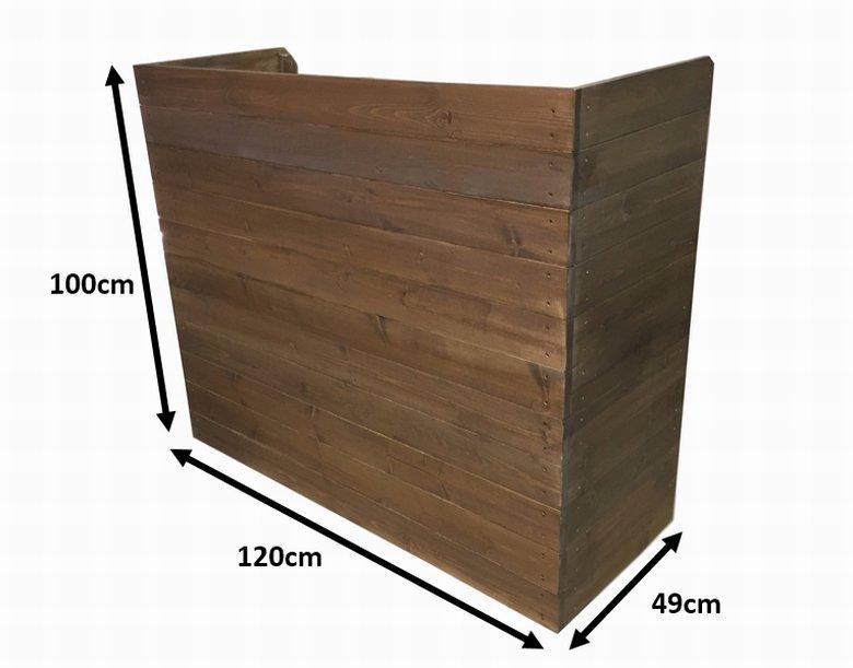木製レジ台・カウンター・作業台_幅120cm×奥行49cm×高さ100cm_オールナット_UN832WN
