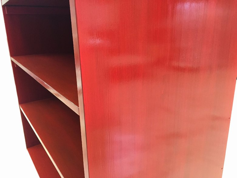 【参考出品】木製シェルフ_幅100cm×奥行55cm×高さ180cm_ローズレッド_S001RR