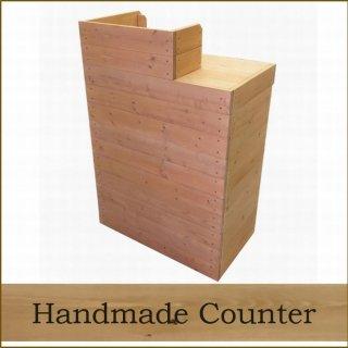 木製レジ台・カウンター_スリム_幅75cm×奥行45cm×高さ108cm_ライトカーキ+ニス_UN838LK