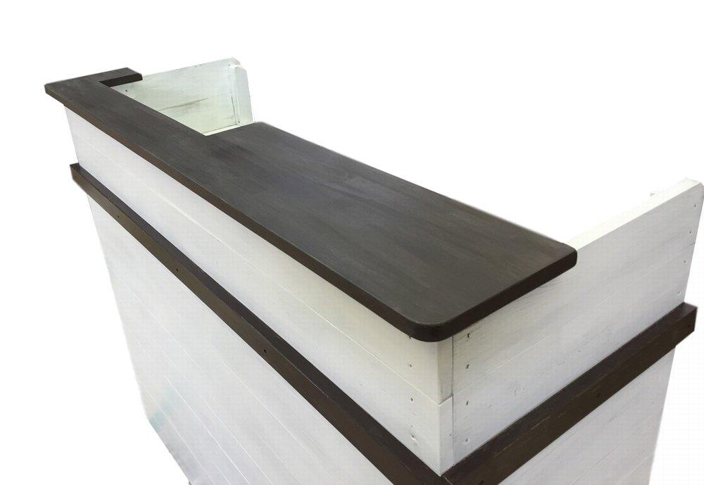 木製レジ台・カウンター_幅124cm×奥行48cm×高さ99cm_アンティークホワイト_C020AWH