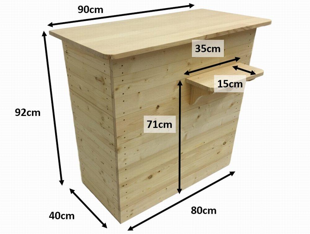 木製レジカウンター・受付カウンター_バッグ置付_幅90cm×奥行55cm×高さ92cm_クリアニス_UN829CL