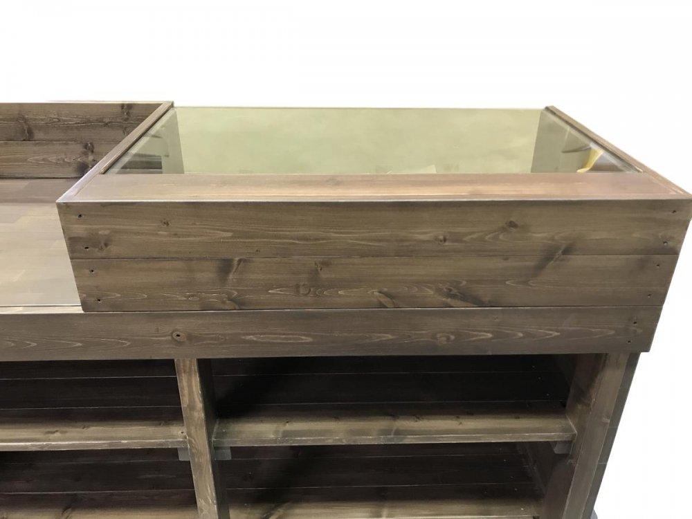 木製レジ台・カウンター_ガラス天板_幅150cm×奥行60cm×高さ90cm_オールナット+ニス_UN808WN