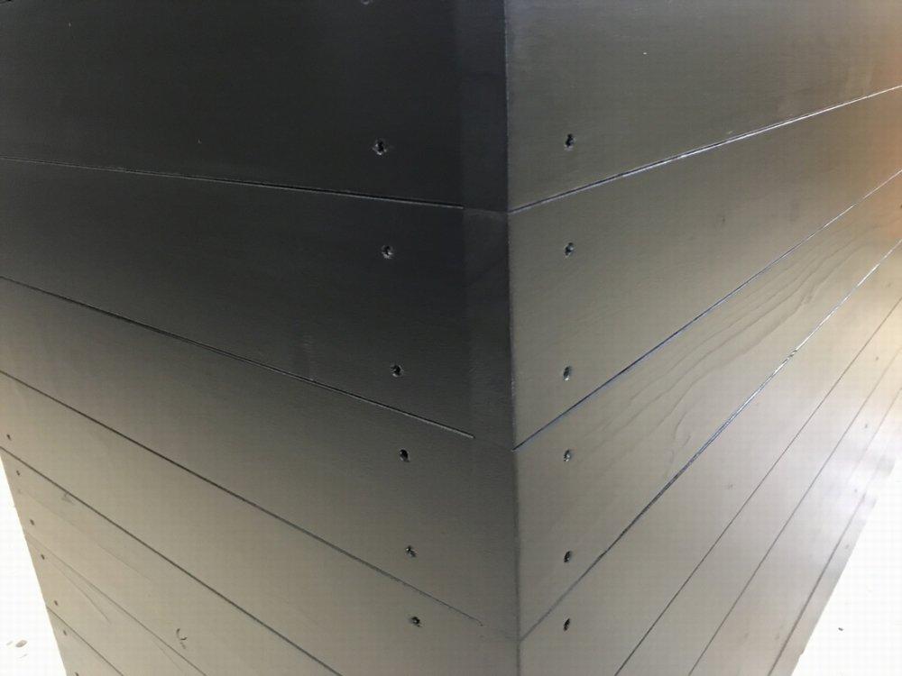 木製レジ台・カウンター_ガラス天板_幅150cm×奥行60cm×高さ90cm_ブラック+ニス_UN808MBK