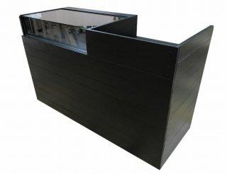 木製レジ台・レジカウンター_ガラスケース付裏開き_幅150cm×奥行60cm×高さ90cm_ブラック+ニス_C021BK