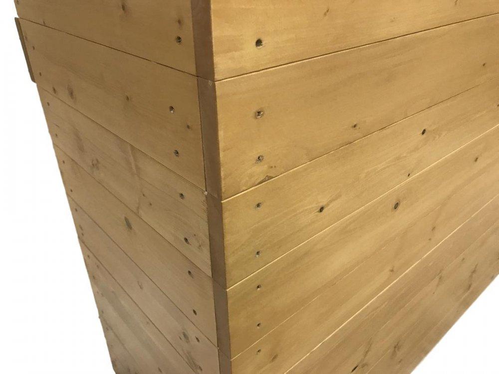 木製レジ台・カウンター_ガラス天板_幅150cm×奥行45cm×高さ90cm_ライトカーキ+ニス仕上げ_UN806LK