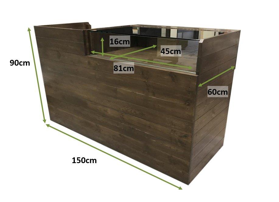 木製レジ台・レジカウンター_ガラスケース付裏開き_幅150cm×奥行60cm×高さ90cm_オールナット+ニス_C025WN