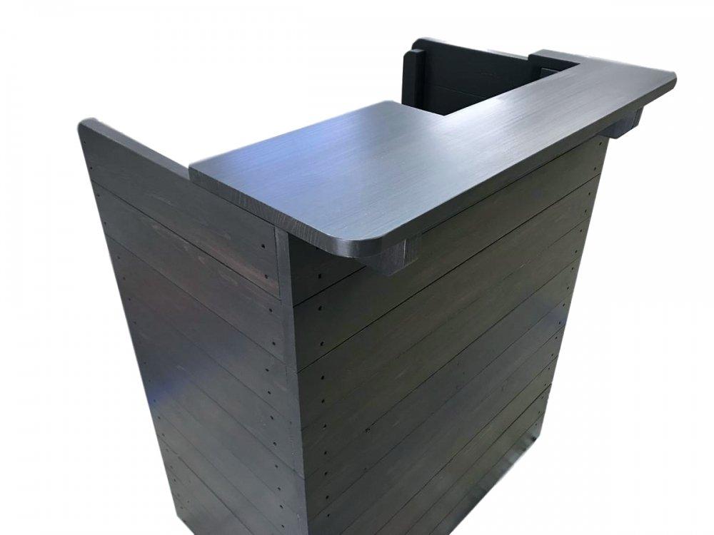 木製レジカウンター・受付カウンター_スリム_幅75cm×奥行54cm×高さ92cm_ブラックブラウン+ニス仕上げ_C030BB