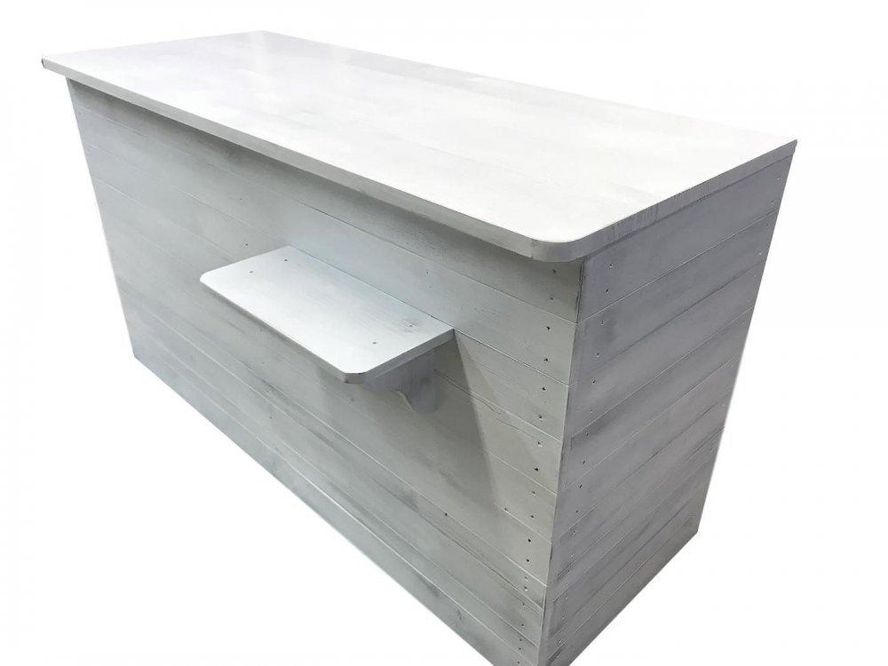 木製レジカウンター・受付カウンター_幅150cm×奥行73cm×高さ85cm_アンティークホワイト+ニス_C036AWH