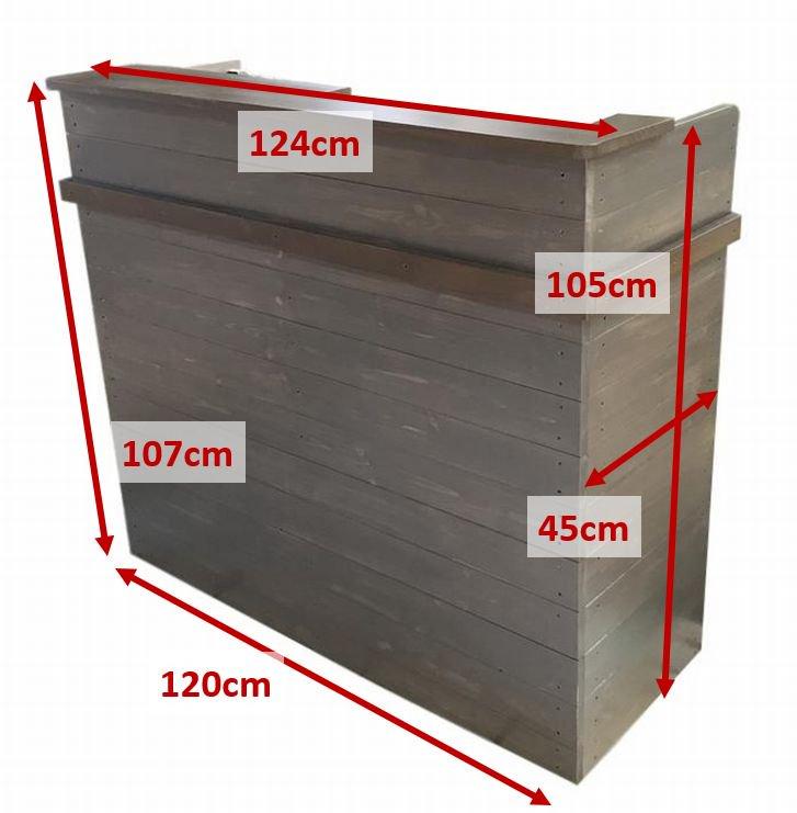 木製レジカウンター_受付カウンター_上部天板付き_幅124cm×奥行48cm×高さ108cm_ブラックブラウン(ニス仕上げ)_C039BB