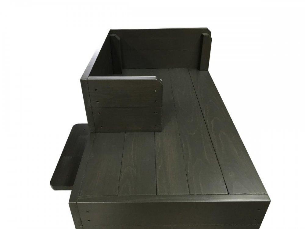 ハンドメイドレジカウンター・受付カウンター_スリム_バック置付_幅75cm×奥行60cm×高さ108cm_ブラックブラウン+ニス_CT-1BB