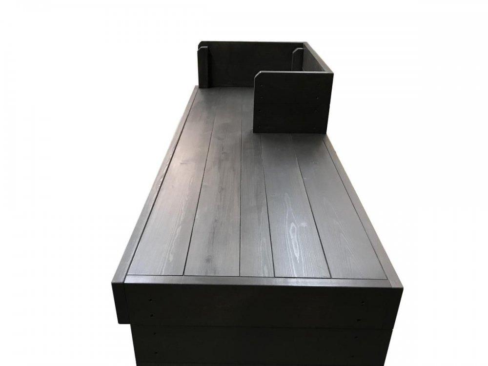 木製レジカウンター・受付カウンター_幅120cm×奥行45cm×高さ108cm_ブラックブラウン+ニス_C040BB