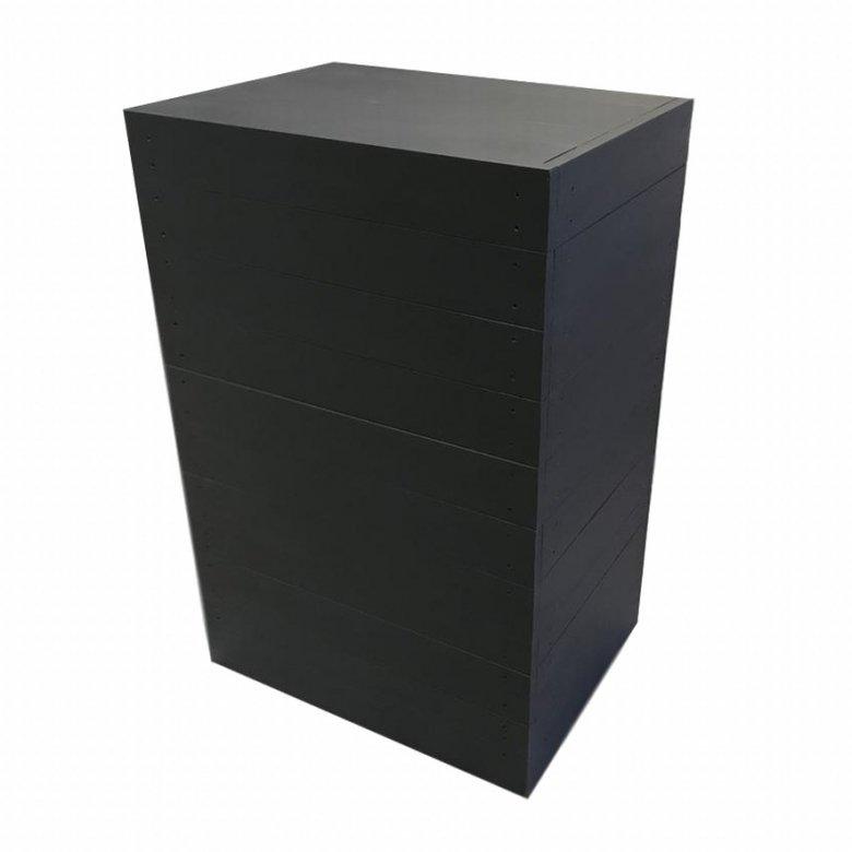 木製レジカウンター・受付カウンター_スリム_幅60cm×奥行45cm×高さ92cm_ブラック+ニス_C044BK