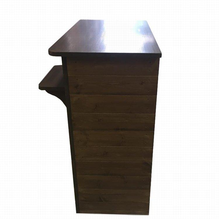 木製レジカウンター・受付カウンター_バッグ置付_幅90cm×奥行55cm×高さ92cm_オールナット_UN829WN
