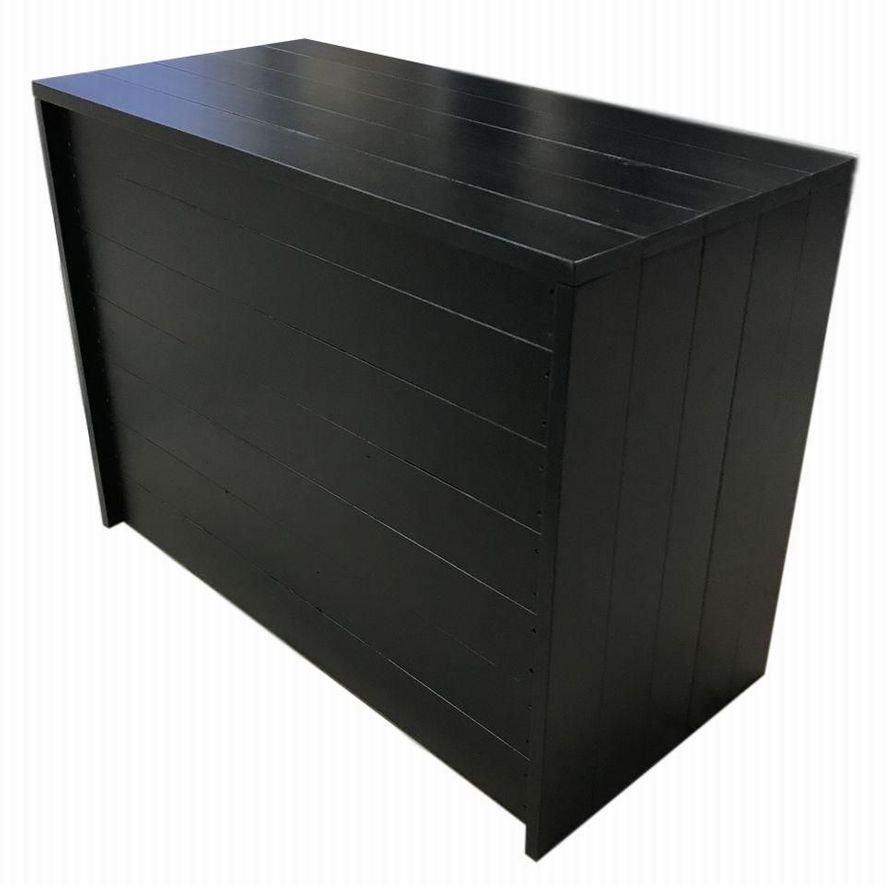 木製ディスプレイテーブル_2個セット_幅100cm×奥行45cm×高さ80cm_ブラック(ニス仕上げ)_UN811MBK
