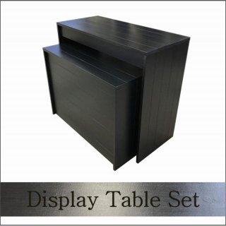 木製ディスプレイテーブル_2個セット_幅100cm×奥行45cm×高さ80cm_ブラック_UN811MBK