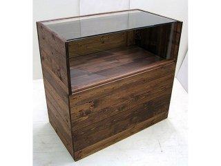 木製ガラスショーケース_幅90cm×奥行50cm×高さ90cm_ダークオーク_UN853DO