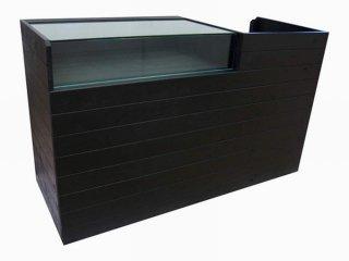木製レジ台・レジカウンター_ガラスケース付裏開き_幅150cm×奥行60cm×高さ90cm_マットブラック_UN871MBK
