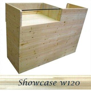 木製レジ台・レジカウンター_ガラス天板_幅120cm×奥行45cm×高さ90cm_無塗装_UN874N
