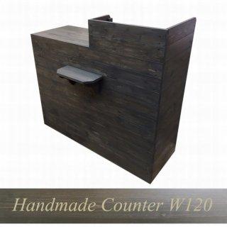 木製レジ台・カウンター_バッグ置付_幅120cm×奥行60cm×高さ108cm_ブラックブラウン_UN812BB