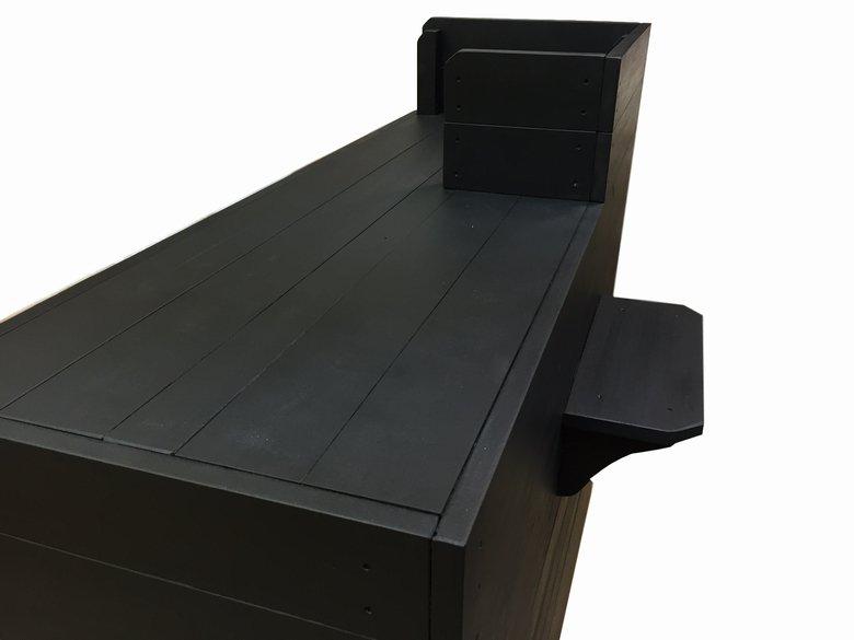 木製レジ台・カウンター_バッグ置付_幅120cm×奥行60cm×高さ108cm_ブラック(ニス仕上げ)_UN812MBK