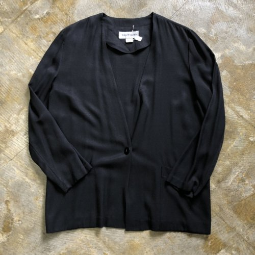 collarless jacket black