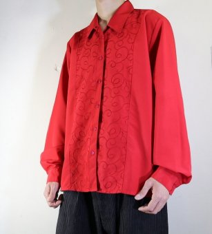 poly embroidery red