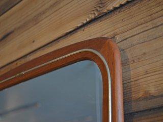 真鍮の飾りがアクセントに<br>チーク ヴィンテージミラー<br>teak vintage mirror 鏡