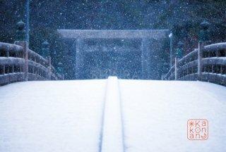 ポストカード 雪の宇治橋