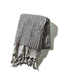 Pompom Towel Black Stripe Large