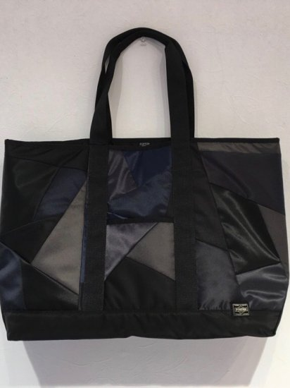 patch work nylon tote bag