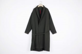 Cotton Linen Wool Gown Coat / khaki