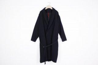 Cotton Linen Wool Gown Coat / black
