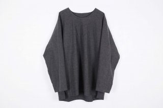 Linen Cotton Long Pullover / charcoal