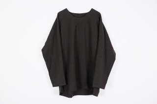 Linen Cotton Long Pullover / brown