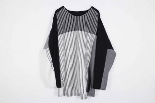 Stripe KnadiCotton merge Pullover / white