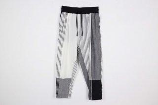 Stripe KnadiCotton merge Pants / white